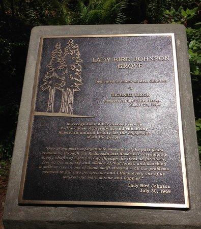 Redwood Highway: Dedication Plaque of Lady Bird Johnson Grove