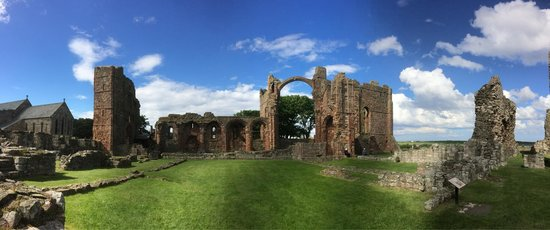Panoramic view of Lindisfarne Priory.