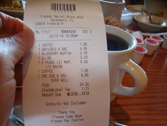 Cracker Barrel : Total bill...... Yes!