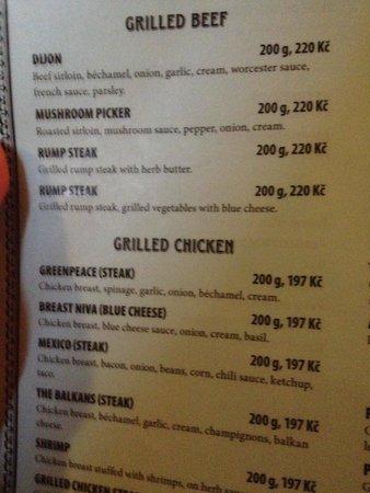 Restaurace Druhej SvEt: Part of English menu