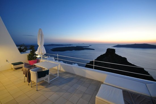 Astra Suites: View of sunset from a honeymoon suite