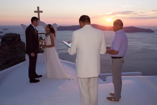 Astra Suites: Beautiful sunset wedding ceremony at church near Astra