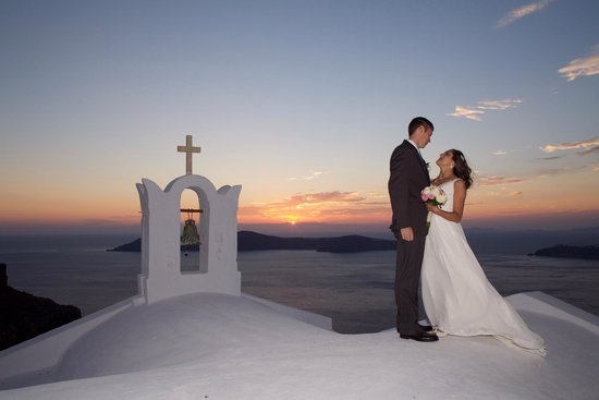 Astra Suites: Sunset wedding ceremony at church near Astra