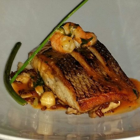 Momo: Grilled seabass with prawns