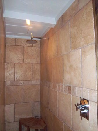 The New Public House & Hotel: Large walkin shower of Suite