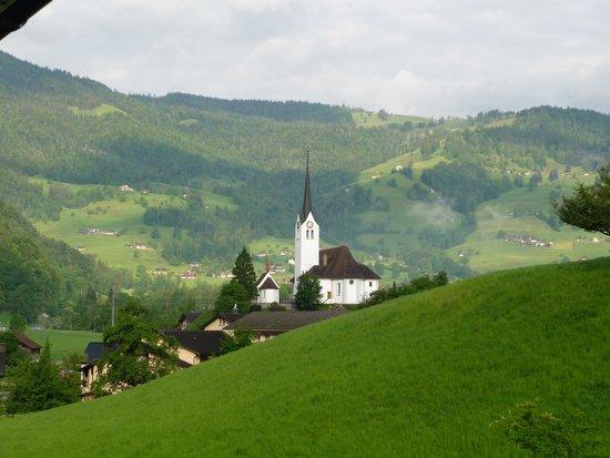 Hotel Krone Giswil : village church from bedroom window