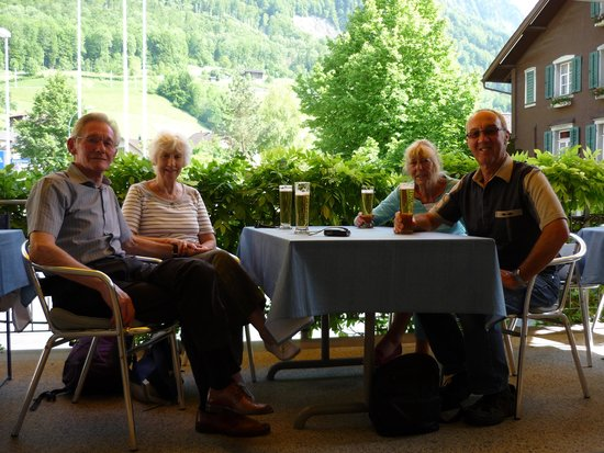 Hotel Krone Giswil: A drink on the patio!