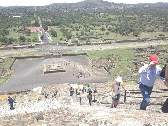 Basilica Lady of Guadalupe and Teotihuacan: Vista desde un poco más de la mitad de subiendo la pirámide del sol