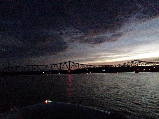 Cedar Wood Resort : Bridge 13 at sundown just 5 minutes by boat from the resort - June 2014
