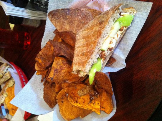 The Gourmet Chip Company: Bacon, apples, & Brie on fresh bread W sweet potato fries:)