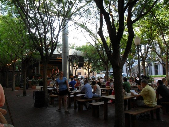 Flying Saucer: Outdoor seating and stage