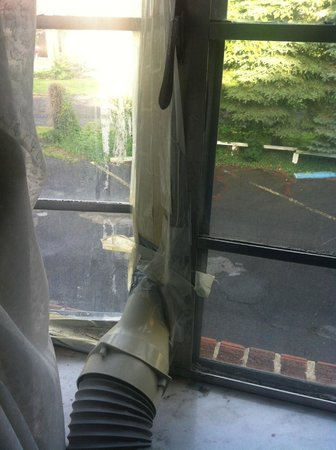 The Preston County Inn: AC vented thru window with packing tape