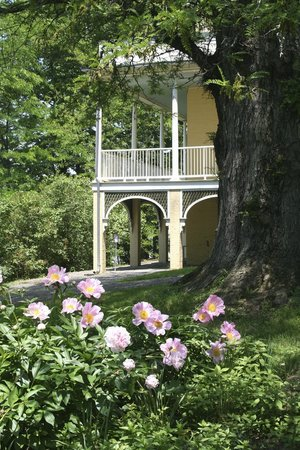 Thomas Cole National Historic Site: view of 200 year old honey locust tree and porch