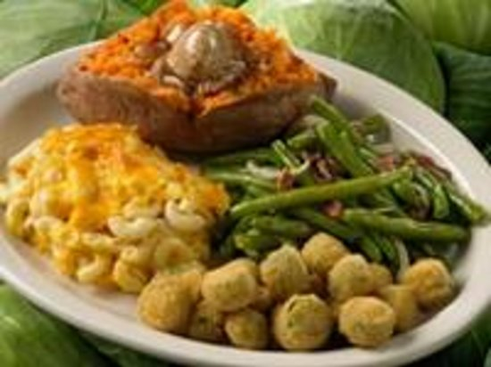 Red Hot & Blue: Vegetable Platter with a Baked Sweet Potato, Seasoned Green Beans, Macaroni & Cheese and Fried O