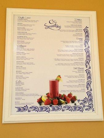 Dreams Tulum Resort & Spa: Smoothie Bar Menu