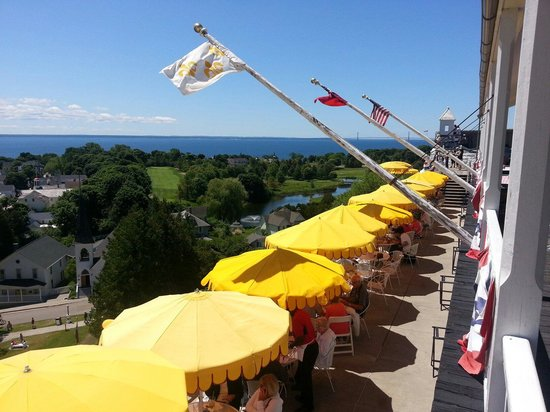 The Grand Hotel Luncheon Buffet : The Grand Hotel's cafe at Fort Mackinac. Great view of city and harbour.