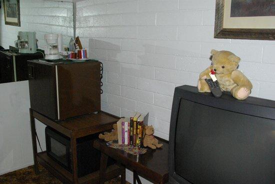 Black Bear Inn: Colorful ceramic coffee cup & creamer set and an alternative entertainment to noisy tv: BOOKS!