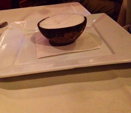 Luce: Coconut sorbet in a half shell!