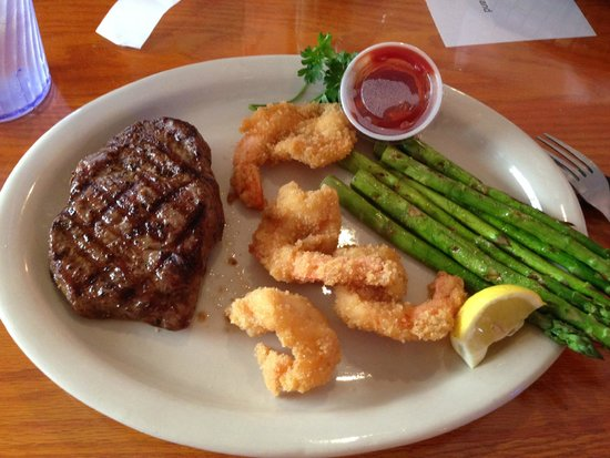CR Surf and Turf: Flat Iron Steak and Fried Shrimp