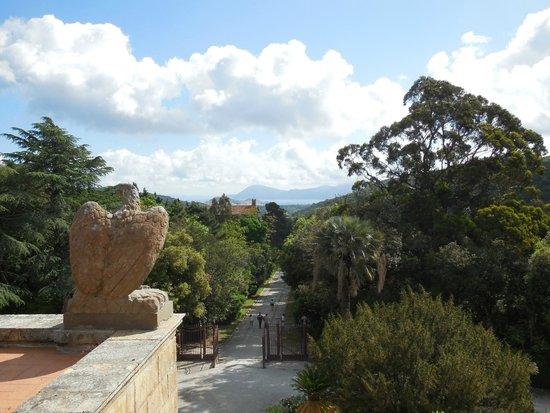 Villa of San Martino : View towards Portoferraio from the upper deck outside the Villa