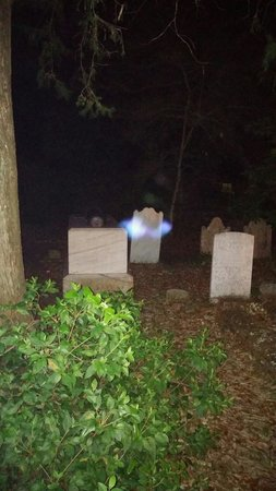 Beaufort Ghost Walk : A ghost floating beside Captain Otway Burns grave.