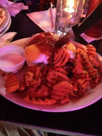 The Vortex: Burger, egg, BBQ sauce, sweet potatoe fries and marshmellow