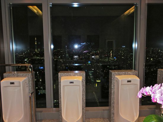 Mandarin Oriental, Tokyo: View at night from the men's bathroom by the restaurants