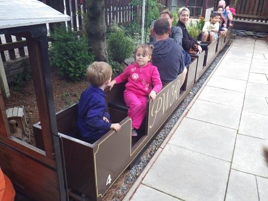 Welsh Highland Heritage Railway: having a ride on the mini train at the sheds