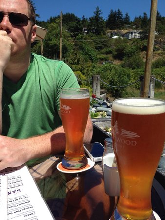 Stickleback West Coast Eatery : Delicious Fat Tug IPA on the patio.
