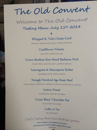 The Old Convent: Menu