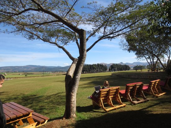 Malandela's Guest House: Relaxing with a splendid view of the adjacent farm
