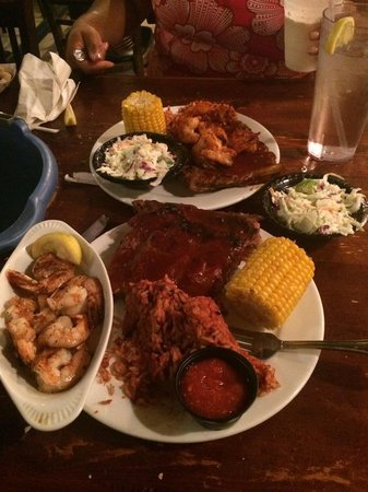 Folly Beach Crab Shack : Yummy ribs and shrimp, sides were corn on the Cobb, coleslaw, and red rice with sausage! I bet y