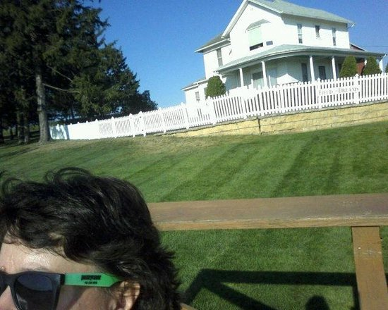 Field of Dreams Movie Site: sitting in the bleachers, the house behind me