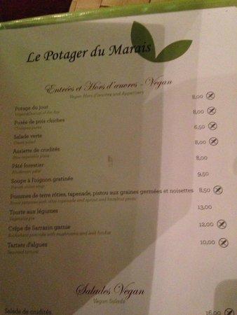 Le Potager du Marais: Inicio de la carta