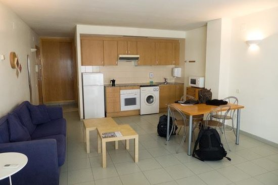 Aura Park Nord: The kitchen/living area. Bathroom is behind the kitchen.
