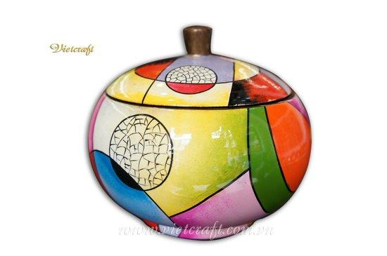 Vietcraft: lacquer decorative jar hand painted design
