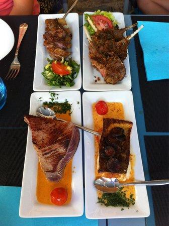 Le Pelagos : Canette aux figues, côtelettes d'agneaux, thon mi-cuit et cabillaud sauce chorizo.