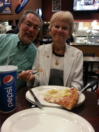 Casa Di Pizza: My 92 year old great ąunt with her first piece of pizza!