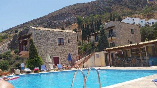 Marni Village : Pool at the top on the village. Room 712 windows on top floor of building straight ahead