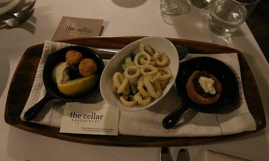 The Cellar Restaurant: Fish Cakes, Calamari, Yorkshire pudding