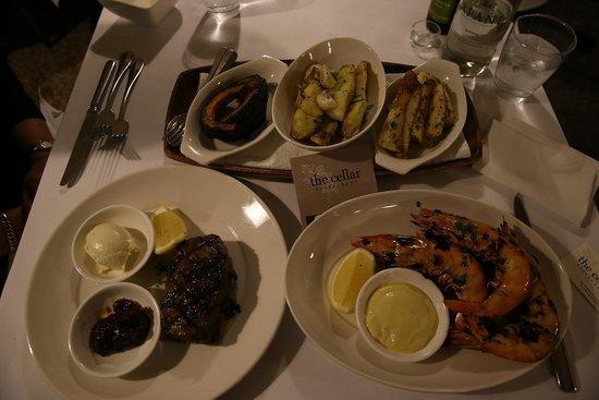 The Cellar Restaurant: Potato.Parsnip, Pumpkin Prawns and steak