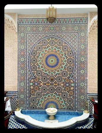 Dar Fes Medina: Mosaic wall art in central atrium