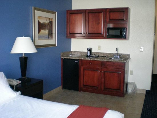 Holiday Inn Express New Buffalo: Single Bed Guest Room / fridge and microwave