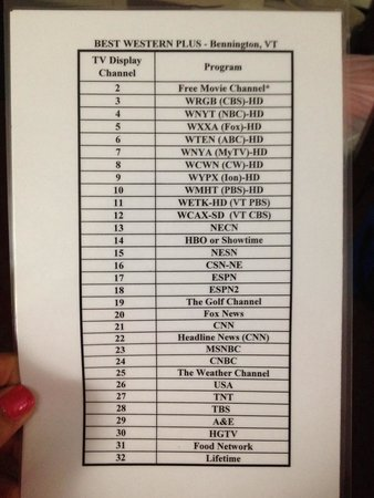 Best Western Bennington: Print out of popular channels room 121
