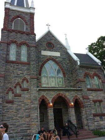 Ghost Tours of Harpers Ferry: St. Peter's Church before we start the tour.