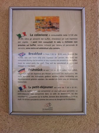 Hotel 33 Baroni: A warning at the breakfast terrace
