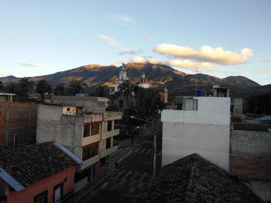 La Cuadra Hotel: looking toward church from rooftop with Mt. Cotacachi in back, topping 16,200 ft!