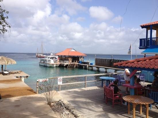 Divi Dive Bonaire: Boat dock and sun bathing at DIVI Dive, Bonaire!