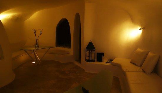 Artemis Villas: White Suite: The living room at night