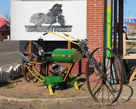 Route 66 Townhouse Welcome Center & Gift Shop: John Deere 420 Cultivator sporting a V-Twin panhead engine